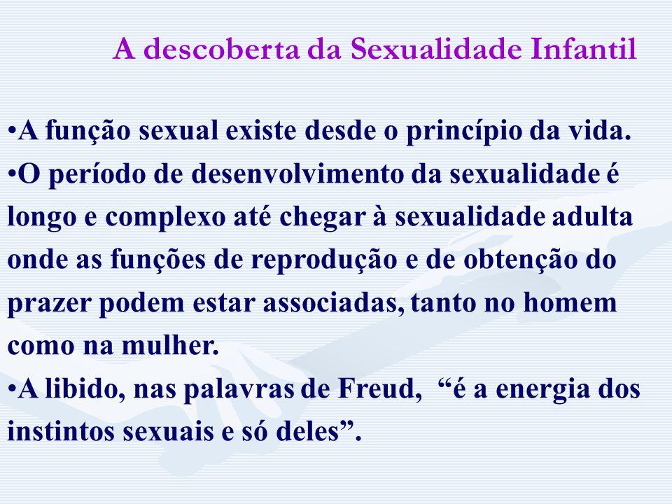 A descoberta da Sexualidade Infantil Na busca das causas das neuroses descobriu que a maioria de pensamentos e desejos reprimidos referiam-se a confli
