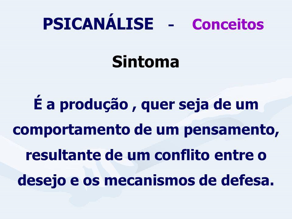 PSICANÁLISE - Conceitos PULSÃO: Estado de Tensão que busca por meio de um objeto a supressão desse estado. EROS: pulsão de vida e abrange as pulsões s