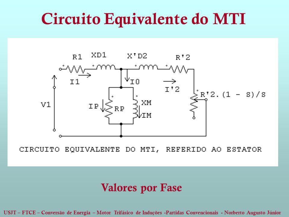 USJT – FTCE – Conversão de Energia – Motor Trifásico de Induções -Partidas Convencionais - Norberto Augusto Júnior Circuito Equivalente do MTI Valores