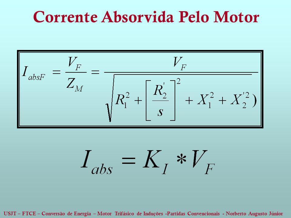 USJT – FTCE – Conversão de Energia – Motor Trifásico de Induções -Partidas Convencionais - Norberto Augusto Júnior Corrente Absorvida Pelo Motor