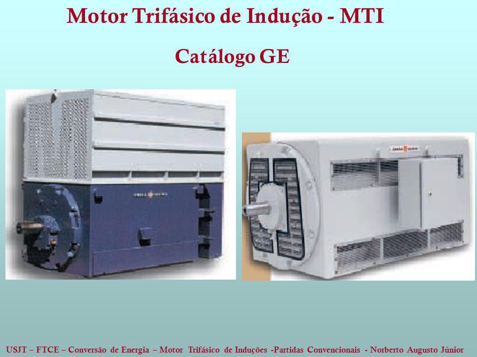USJT – FTCE – Conversão de Energia – Motor Trifásico de Induções -Partidas Convencionais - Norberto Augusto Júnior Motor Trifásico de Indução - MTI Ca