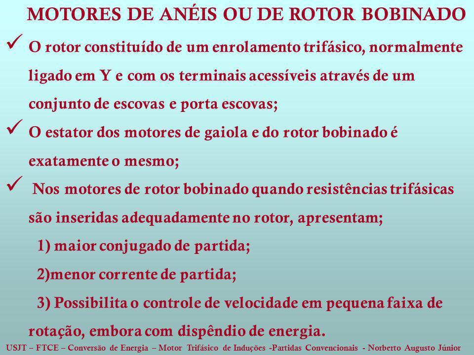 USJT – FTCE – Conversão de Energia – Motor Trifásico de Induções -Partidas Convencionais - Norberto Augusto Júnior O rotor constituído de um enrolamen