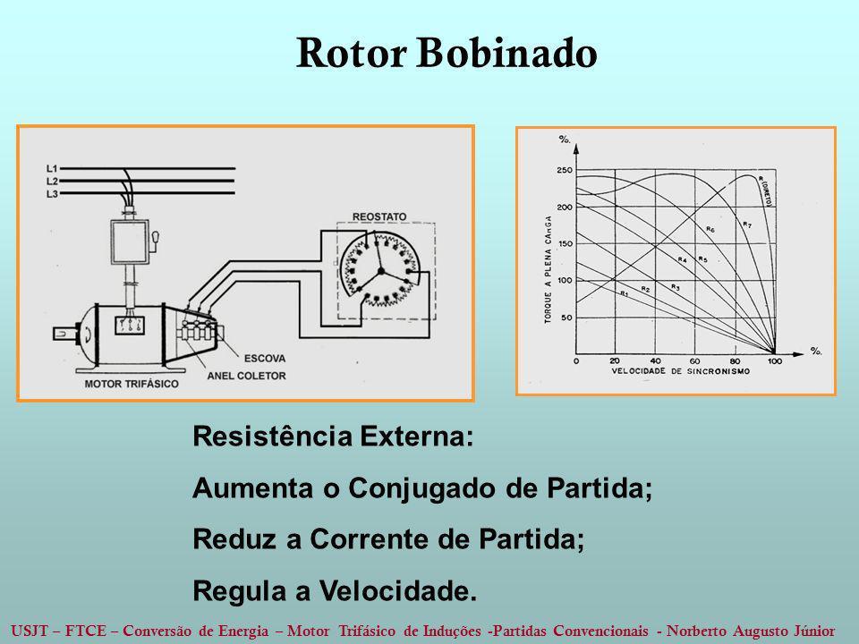 USJT – FTCE – Conversão de Energia – Motor Trifásico de Induções -Partidas Convencionais - Norberto Augusto Júnior Rotor Bobinado Resistência Externa: