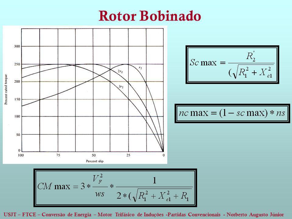 USJT – FTCE – Conversão de Energia – Motor Trifásico de Induções -Partidas Convencionais - Norberto Augusto Júnior Rotor Bobinado