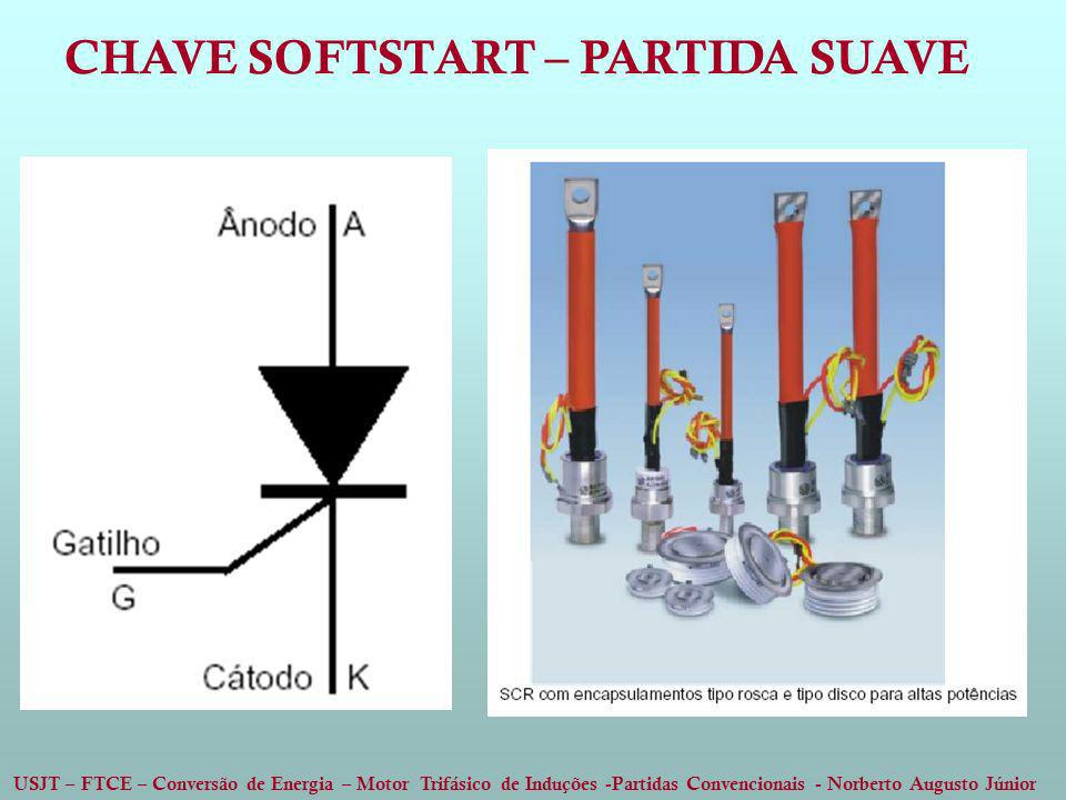 USJT – FTCE – Conversão de Energia – Motor Trifásico de Induções -Partidas Convencionais - Norberto Augusto Júnior CHAVE SOFTSTART – PARTIDA SUAVE