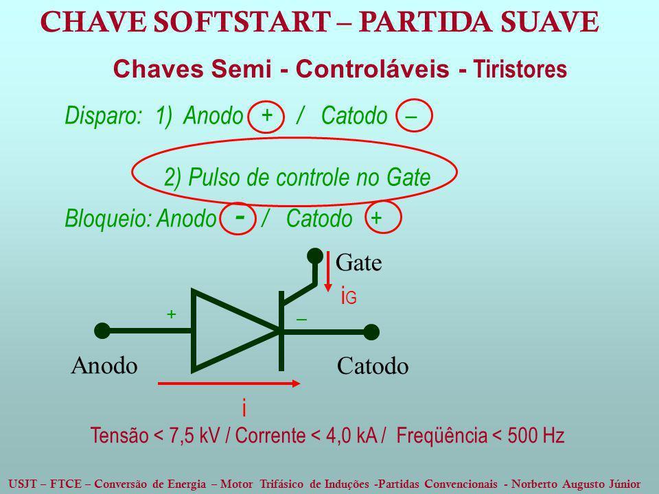 USJT – FTCE – Conversão de Energia – Motor Trifásico de Induções -Partidas Convencionais - Norberto Augusto Júnior Chaves Semi - Controláveis - Tirist