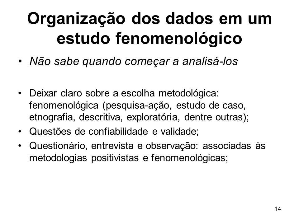 14 Organização dos dados em um estudo fenomenológico Não sabe quando começar a analisá-los Deixar claro sobre a escolha metodológica: fenomenológica (