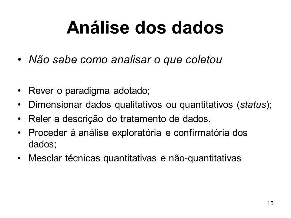 15 Análise dos dados Não sabe como analisar o que coletou Rever o paradigma adotado; Dimensionar dados qualitativos ou quantitativos (status); Reler a