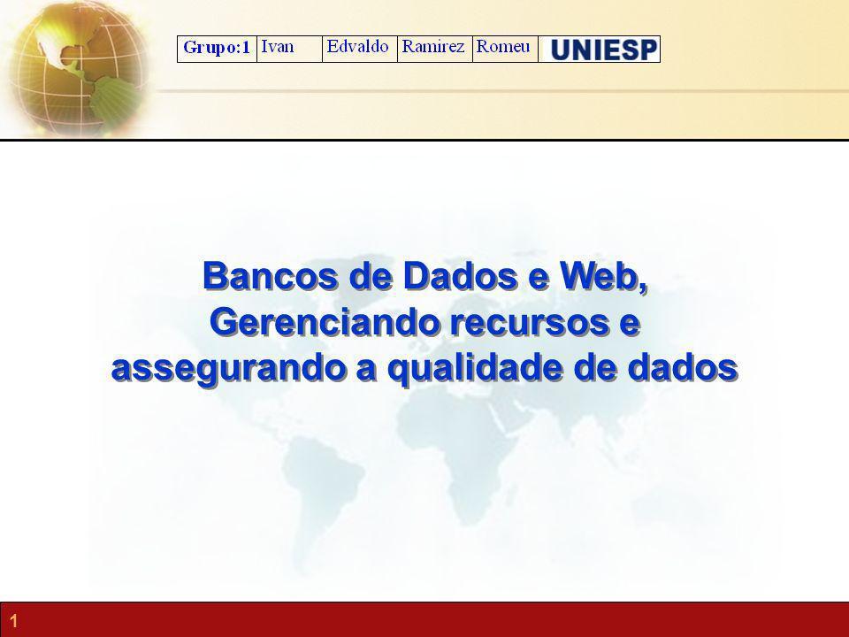 1 Bancos de Dados e Web, Gerenciando recursos e assegurando a qualidade de dados