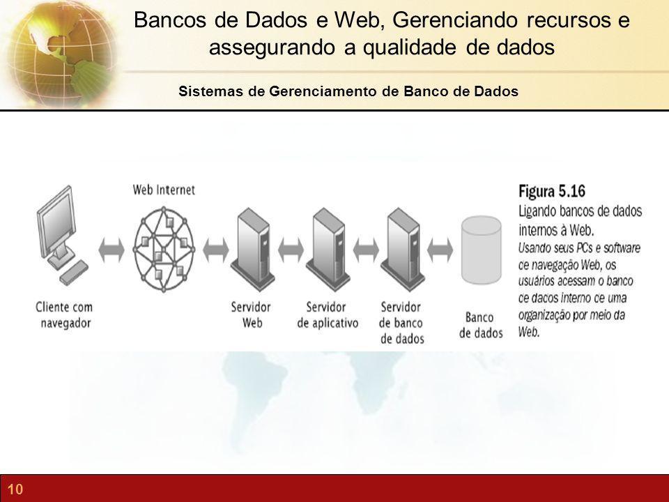 10 Bancos de Dados e Web, Gerenciando recursos e assegurando a qualidade de dados Sistemas de Gerenciamento de Banco de Dados