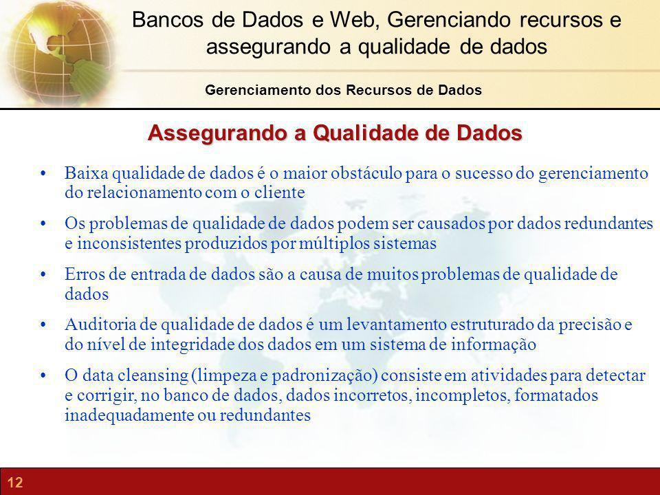 12 Bancos de Dados e Web, Gerenciando recursos e assegurando a qualidade de dados Assegurando a Qualidade de Dados Baixa qualidade de dados é o maior