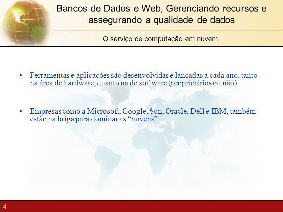 4 Bancos de Dados e Web, Gerenciando recursos e assegurando a qualidade de dados O serviço de computação em nuvem Ferramentas e aplicações são desenvo