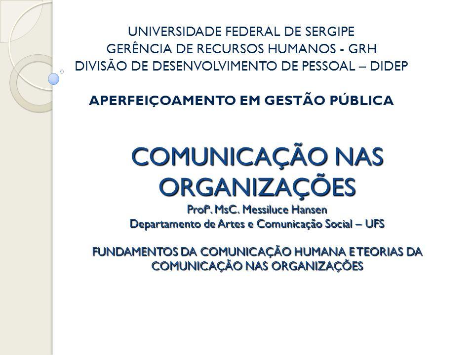 COMUNICAÇÃO NAS ORGANIZAÇÕES Prof ª. MsC. Messiluce Hansen Departamento de Artes e Comunicação Social – UFS FUNDAMENTOS DA COMUNICAÇÃO HUMANA E TEORIA
