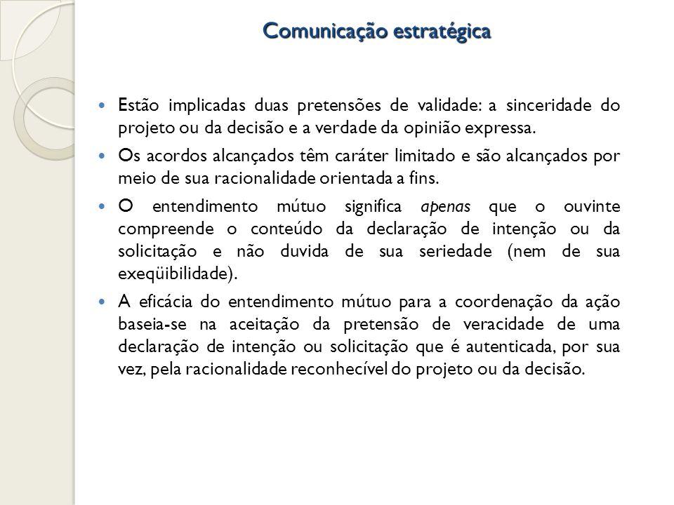 Comunicação estratégica Estão implicadas duas pretensões de validade: a sinceridade do projeto ou da decisão e a verdade da opinião expressa. Os acord