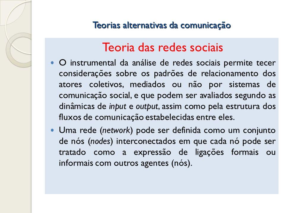Teorias alternativas da comunicação Teoria das redes sociais O instrumental da análise de redes sociais permite tecer considerações sobre os padrões d