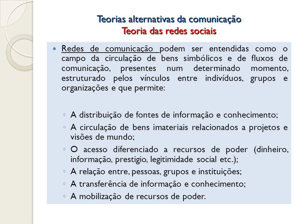 Teorias alternativas da comunicação Teoria das redes sociais Redes de comunicação podem ser entendidas como o campo da circulação de bens simbólicos e