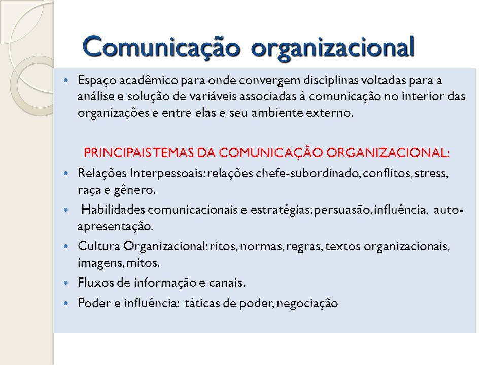 Comunicação organizacional Espaço acadêmico para onde convergem disciplinas voltadas para a análise e solução de variáveis associadas à comunicação no