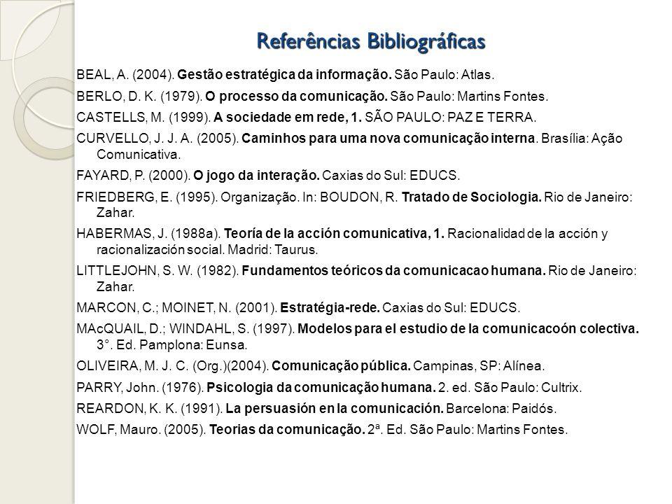 Referências Bibliográficas BEAL, A. (2004). Gestão estratégica da informação. São Paulo: Atlas. BERLO, D. K. (1979). O processo da comunicação. São Pa