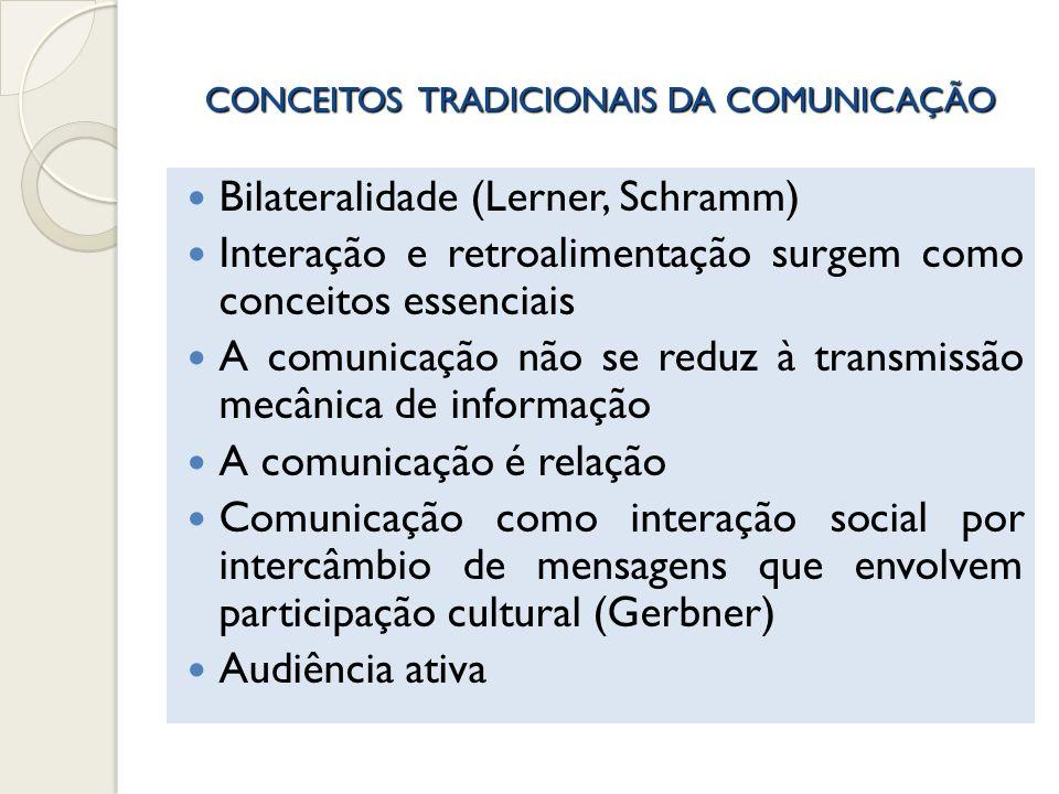 CONCEITOS TRADICIONAIS DA COMUNICAÇÃO Bilateralidade (Lerner, Schramm) Interação e retroalimentação surgem como conceitos essenciais A comunicação não
