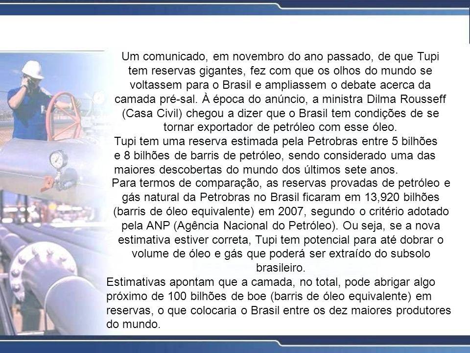 Um comunicado, em novembro do ano passado, de que Tupi tem reservas gigantes, fez com que os olhos do mundo se voltassem para o Brasil e ampliassem o