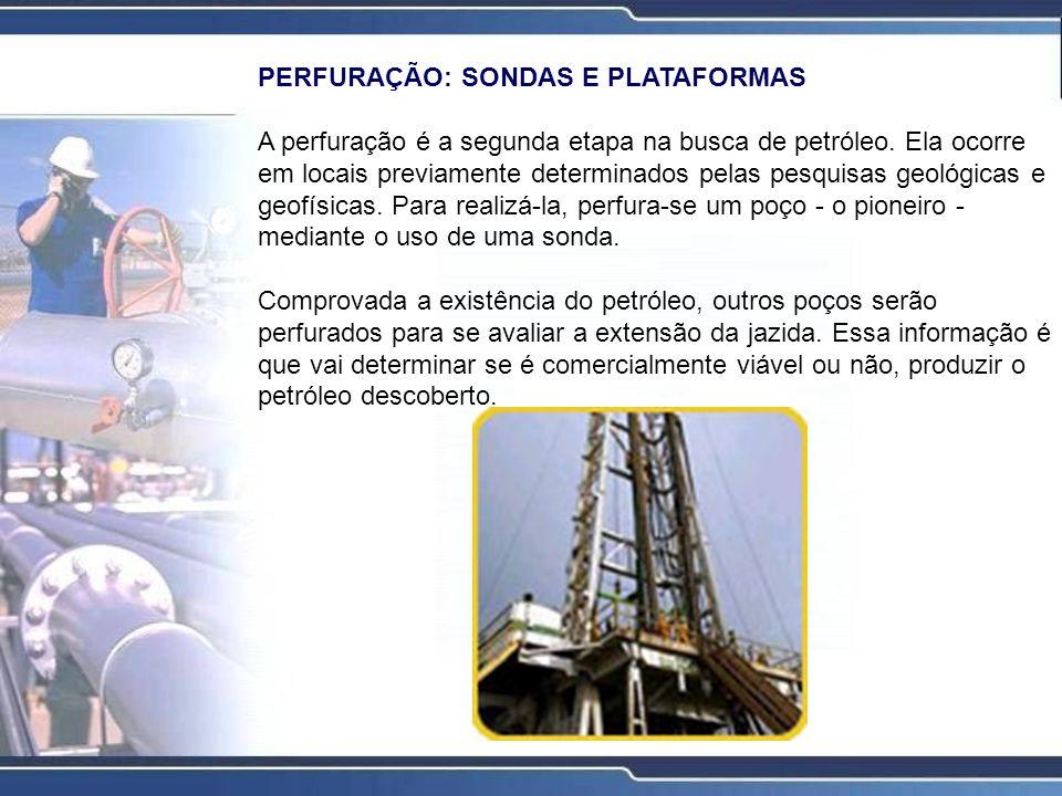 PERFURAÇÃO: SONDAS E PLATAFORMAS A perfuração é a segunda etapa na busca de petróleo. Ela ocorre em locais previamente determinados pelas pesquisas ge