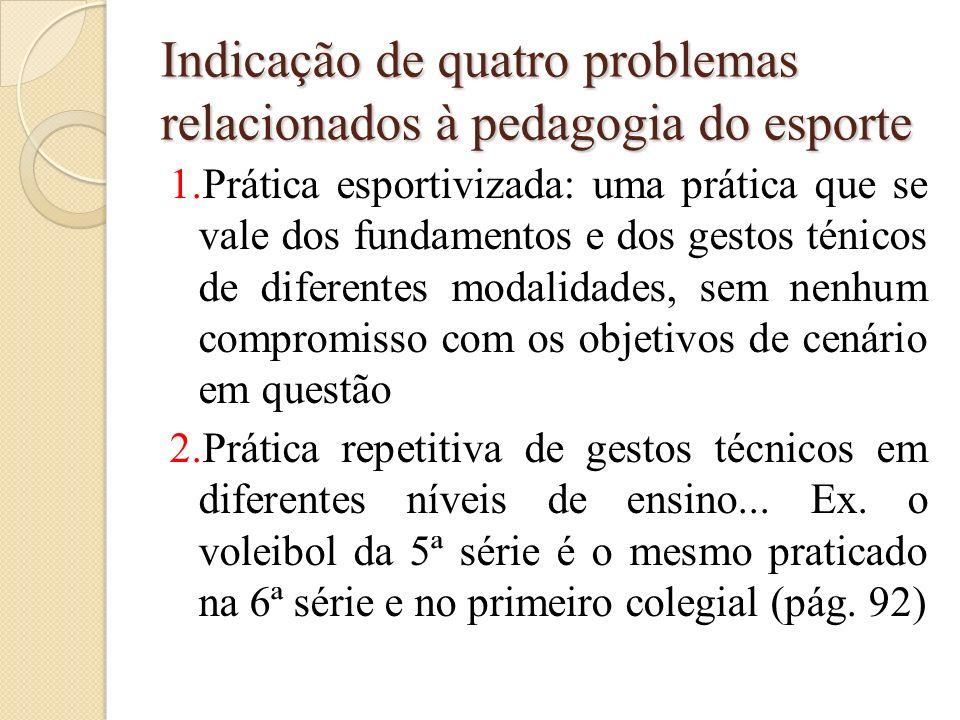 Indicação de quatro problemas relacionados à pedagogia do esporte 1.Prática esportivizada: uma prática que se vale dos fundamentos e dos gestos ténico