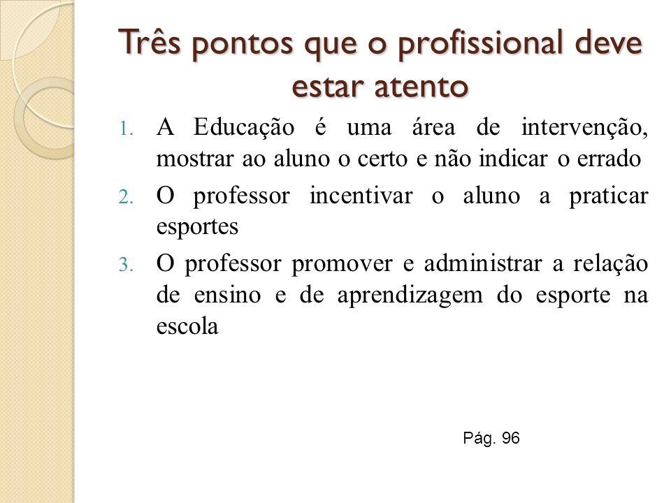 Três pontos que o profissional deve estar atento 1. A Educação é uma área de intervenção, mostrar ao aluno o certo e não indicar o errado 2. O profess