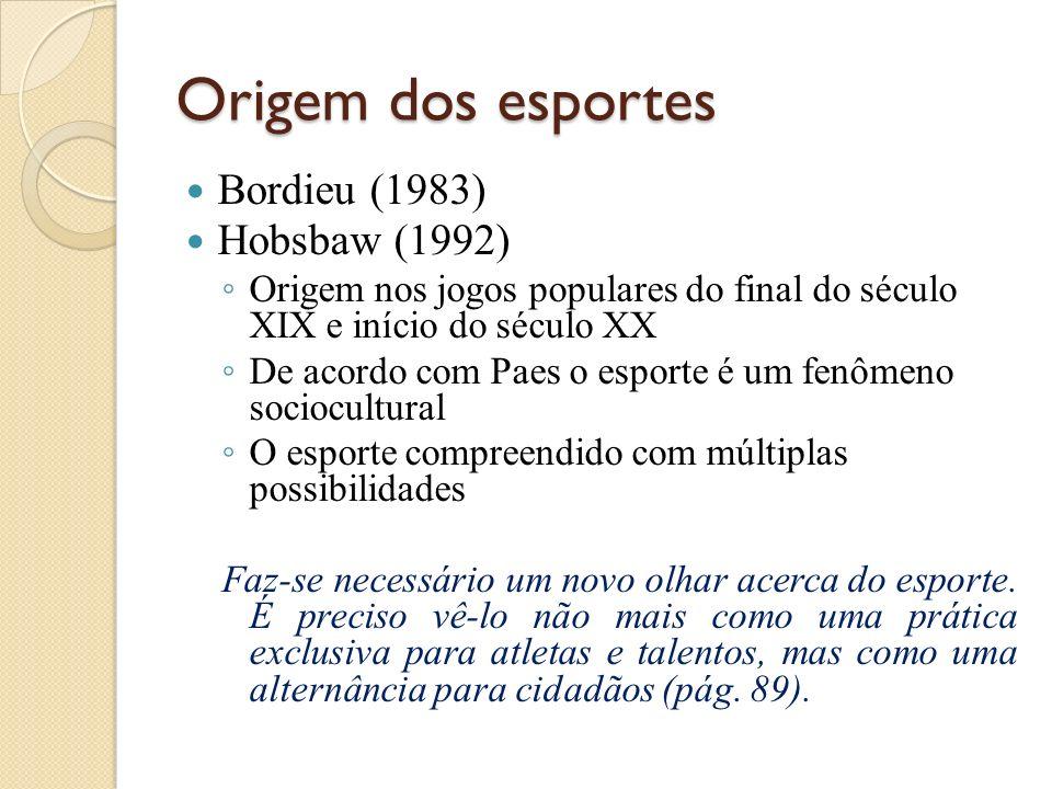 Origem dos esportes Bordieu (1983) Hobsbaw (1992) Origem nos jogos populares do final do século XIX e início do século XX De acordo com Paes o esporte