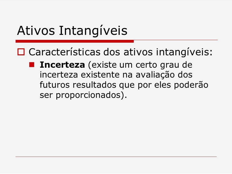 Ativos Intangíveis Características dos ativos intangíveis: Incerteza (existe um certo grau de incerteza existente na avaliação dos futuros resultados