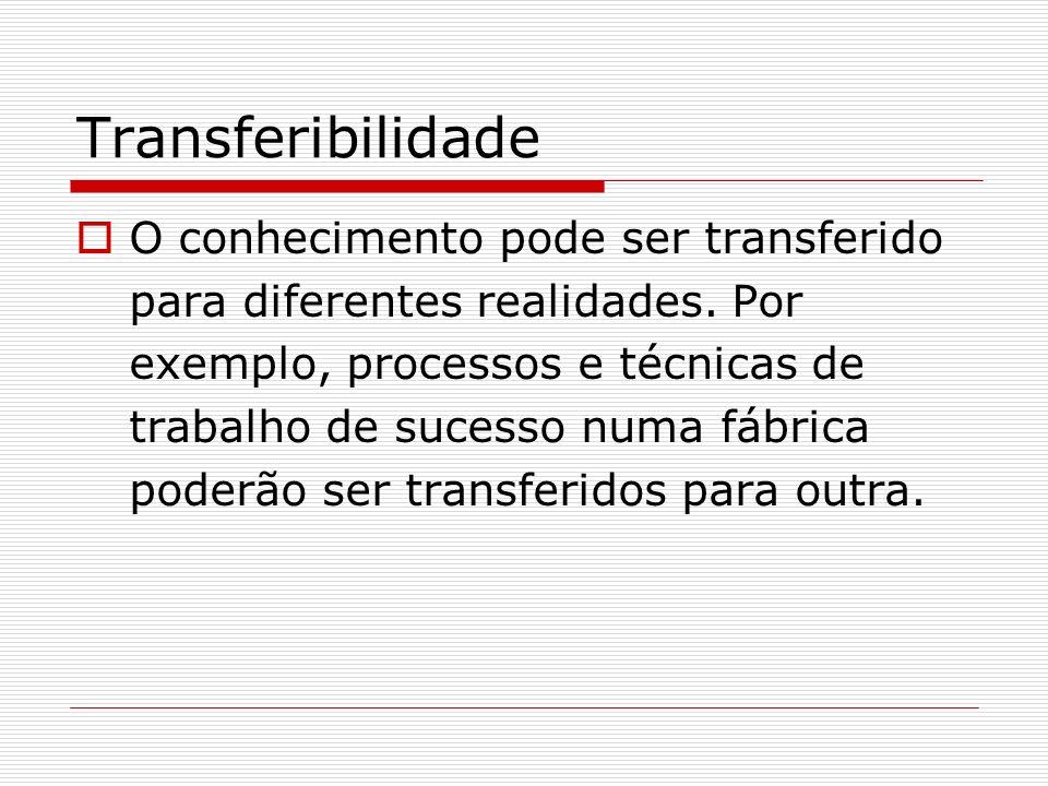 Transferibilidade O conhecimento pode ser transferido para diferentes realidades. Por exemplo, processos e técnicas de trabalho de sucesso numa fábric