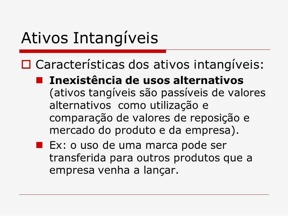 Ativos Intangíveis Características dos ativos intangíveis: Separabilidade (supõe-se que ativos intangíveis somente existam e tem valor quando integrados à empresa e combinados com tangíveis)