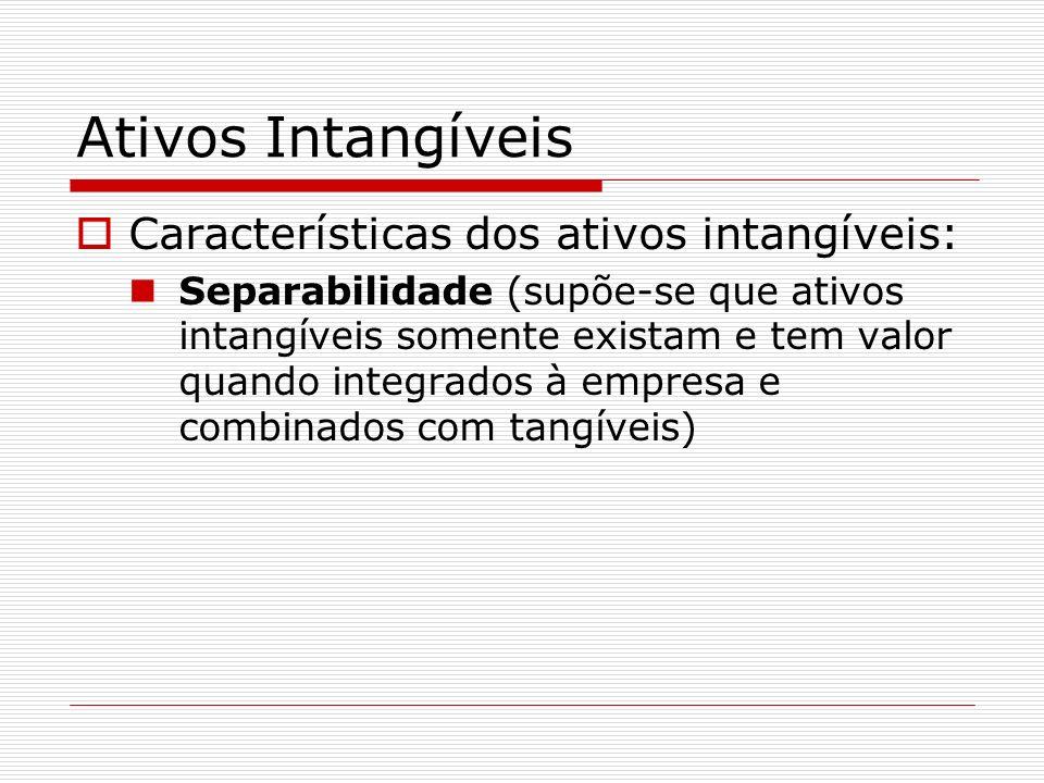 Ativos Intangíveis Características dos ativos intangíveis: Incerteza (existe um certo grau de incerteza existente na avaliação dos futuros resultados que por eles poderão ser proporcionados).