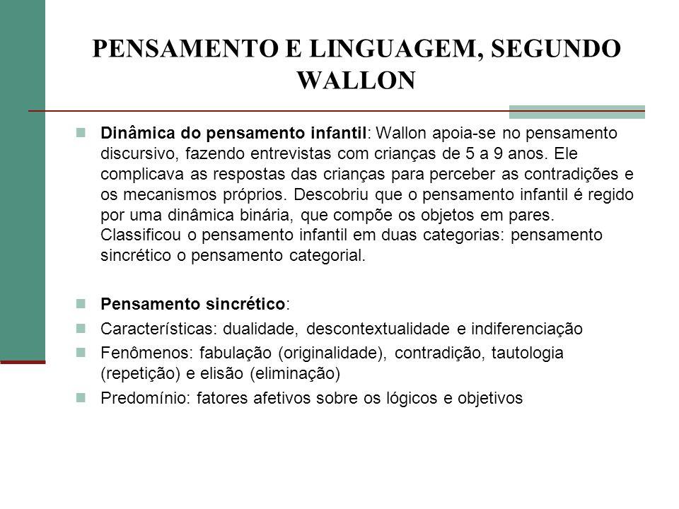 PENSAMENTO E LINGUAGEM, SEGUNDO WALLON Dinâmica do pensamento infantil: Wallon apoia-se no pensamento discursivo, fazendo entrevistas com crianças de