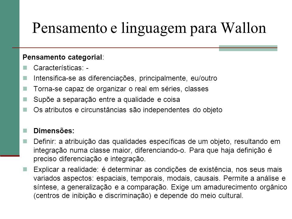 Pensamento e linguagem para Wallon Pensamento categorial: Características: - Intensifica-se as diferenciações, principalmente, eu/outro Torna-se capaz