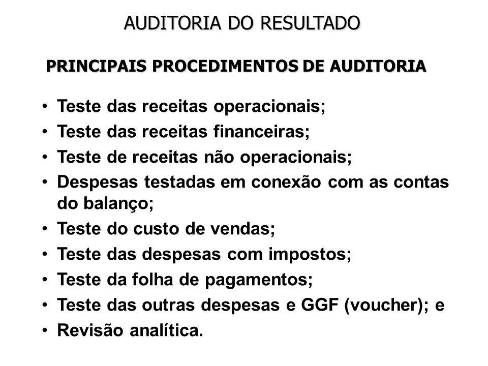 AUDITORIA DO RESULTADO PRINCIPAIS PROCEDIMENTOS DE AUDITORIA Teste das receitas operacionais; Teste das receitas financeiras; Teste de receitas não op