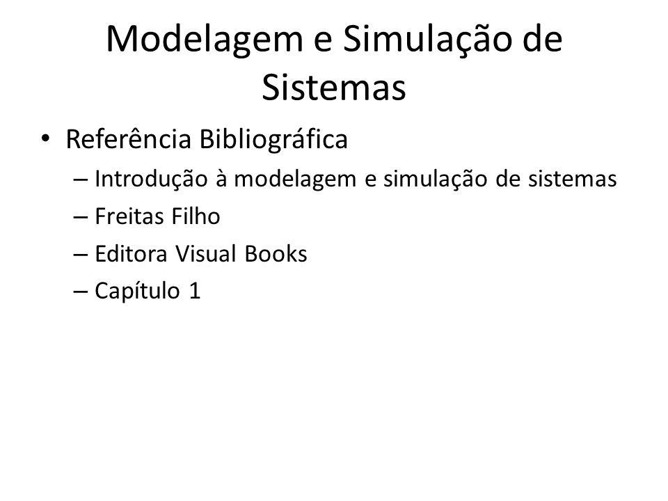 Modelagem e Simulação de Sistemas Referência Bibliográfica – Introdução à modelagem e simulação de sistemas – Freitas Filho – Editora Visual Books – C