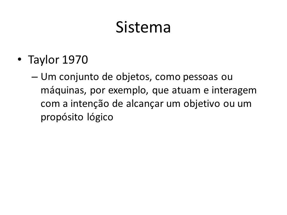 Sistema Taylor 1970 – Um conjunto de objetos, como pessoas ou máquinas, por exemplo, que atuam e interagem com a intenção de alcançar um objetivo ou u