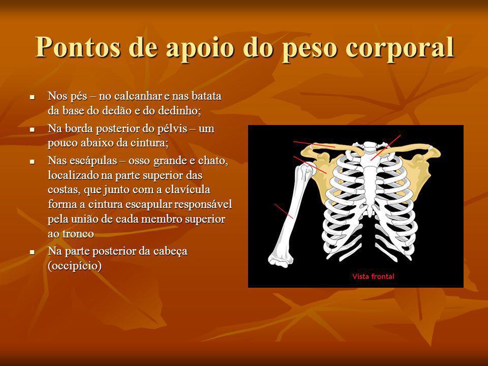 Pontos de apoio do peso corporal Nos pés – no calcanhar e nas batata da base do dedão e do dedinho; Nos pés – no calcanhar e nas batata da base do ded