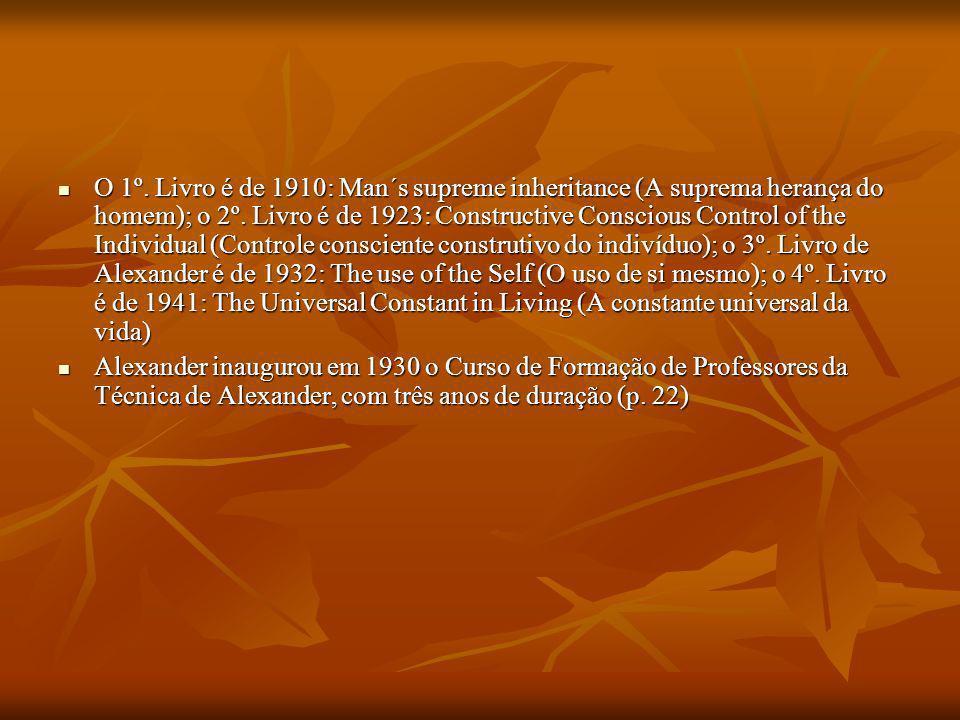 O 1º. Livro é de 1910: Man´s supreme inheritance (A suprema herança do homem); o 2º. Livro é de 1923: Constructive Conscious Control of the Individual