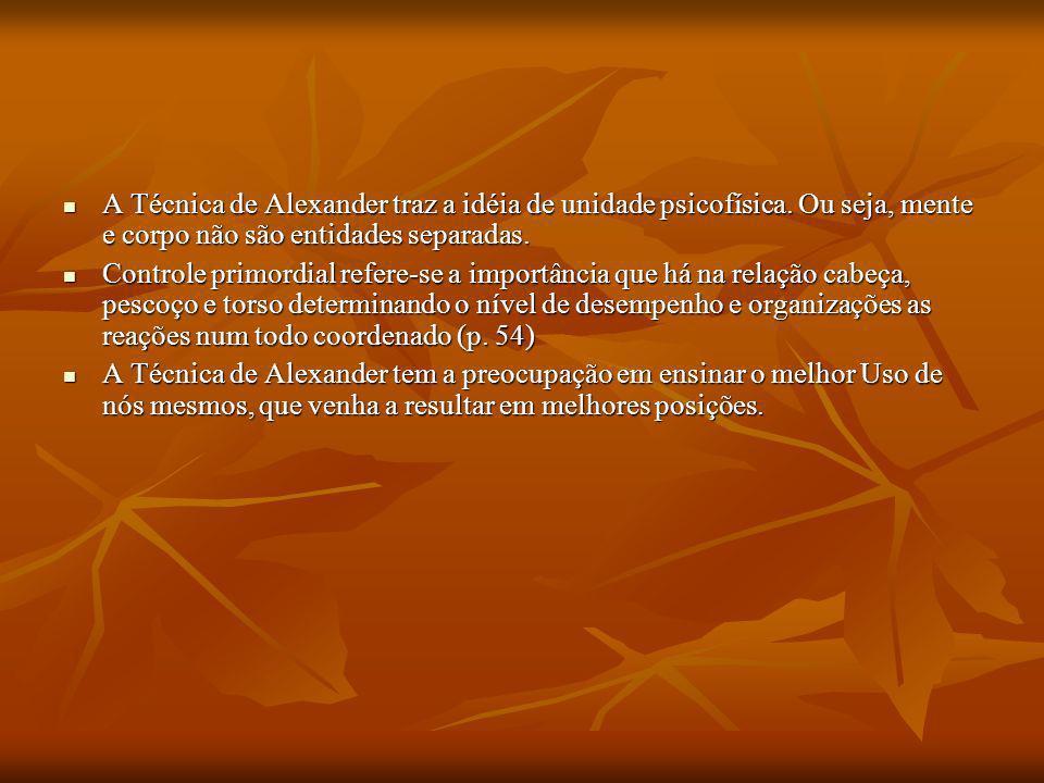 A Técnica de Alexander traz a idéia de unidade psicofísica. Ou seja, mente e corpo não são entidades separadas. A Técnica de Alexander traz a idéia de