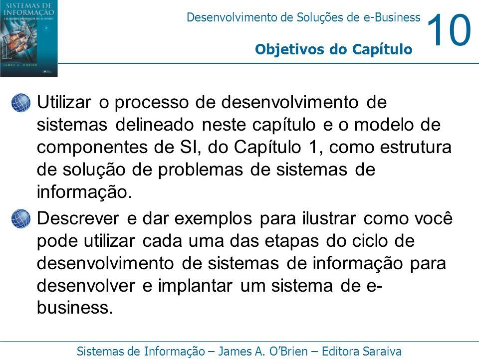 10 Desenvolvimento de Soluções de e-Business Sistemas de Informação – James A. OBrien – Editora Saraiva Utilizar o processo de desenvolvimento de sist