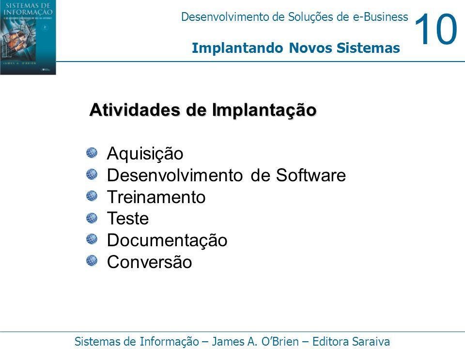 10 Desenvolvimento de Soluções de e-Business Sistemas de Informação – James A. OBrien – Editora Saraiva Atividades de Implantação Aquisição Desenvolvi