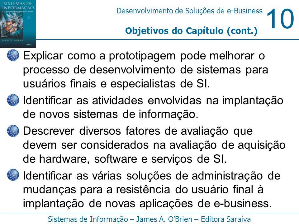10 Desenvolvimento de Soluções de e-Business Sistemas de Informação – James A. OBrien – Editora Saraiva Explicar como a prototipagem pode melhorar o p