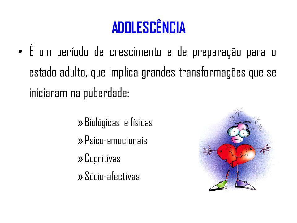 ADOLESCÊNCIA É um período de crescimento e de preparação para o estado adulto, que implica grandes transformações que se iniciaram na puberdade: » Bio