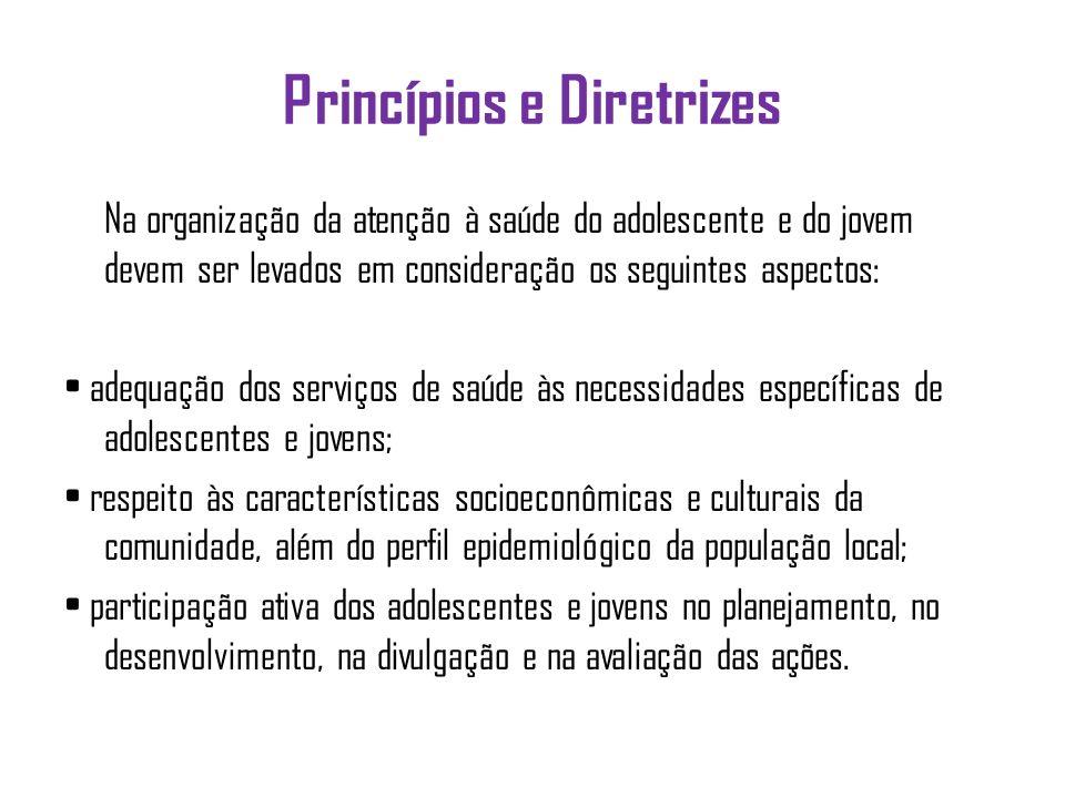 Princípios e Diretrizes Na organização da atenção à saúde do adolescente e do jovem devem ser levados em consideração os seguintes aspectos: adequação