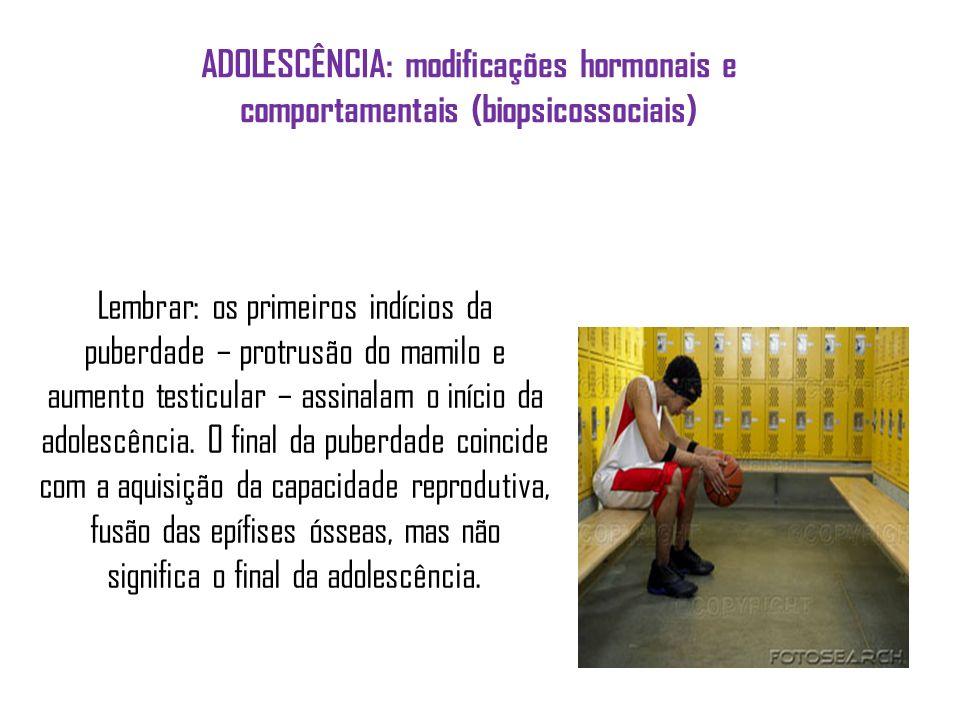 ADOLESCÊNCIA: modificações hormonais e comportamentais (biopsicossociais) Lembrar: os primeiros indícios da puberdade – protrusão do mamilo e aumento