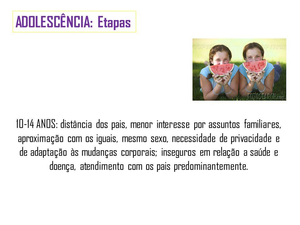 ADOLESCÊNCIA: Etapas 10-14 ANOS: distância dos pais, menor interesse por assuntos familiares, aproximação com os iguais, mesmo sexo, necessidade de pr