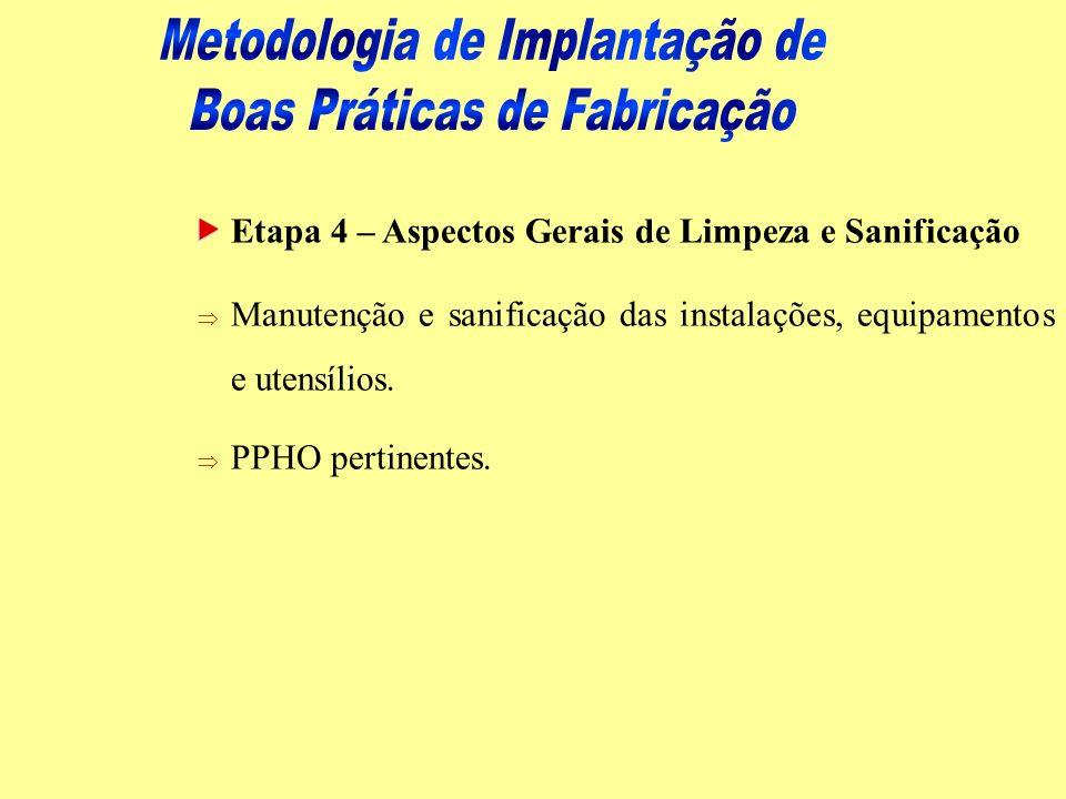Etapa 4 – Aspectos Gerais de Limpeza e Sanificação Þ Manutenção e sanificação das instalações, equipamentos e utensílios. Þ PPHO pertinentes.