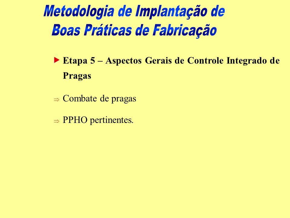 Etapa 5 – Aspectos Gerais de Controle Integrado de Pragas Þ Combate de pragas Þ PPHO pertinentes.