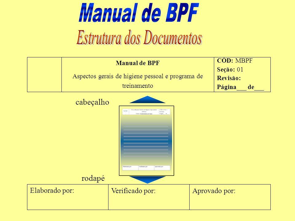 Manual de BPF Aspectos gerais de higiene pessoal e programa de treinamento CÓD: MBPF Seção: 01 Revisão: Página___ de___ Elaborado por: Verificado por: